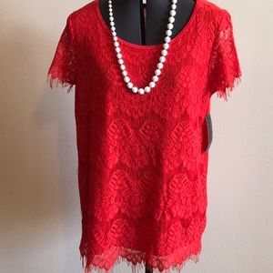 NWT Signature Studio Fiery Red Lace Blouse